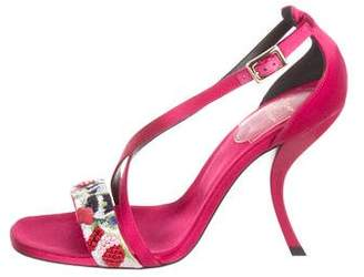 Roger Vivier Embroidered Satin Ankle Strap Sandals w/ Tags
