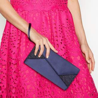 Debut Navy Glitter Satin Clutch Bag