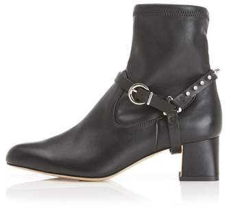 Marion Parke Tatum With Swarovski Crystal Harness | Eco Nappa And Leather Block Heel Bootie