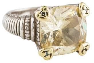 Judith Ripka Canary Crystal & Diamond Cocktail Ring silver Canary Crystal & Diamond Cocktail Ring