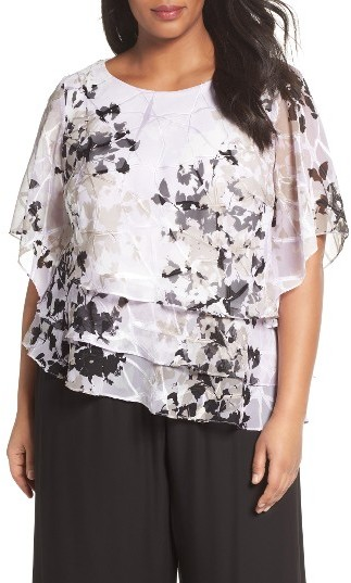 Alex Evenings Plus Size Women's Alex Evenings Tiered Chiffon Top