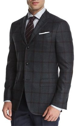 Ermenegildo Zegna Tonal Large-Windowpane Two-Button Jacket, Blue $2,295 thestylecure.com