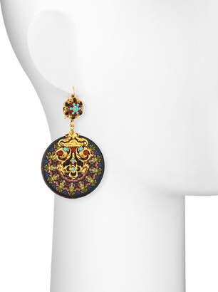 Jose & Maria Barrera Kaleidoscope Decoupage Medallion Drop Earrings