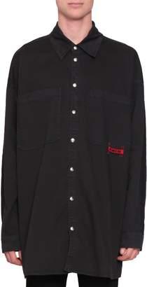 Amen Oversized Denim Cotton Shirt