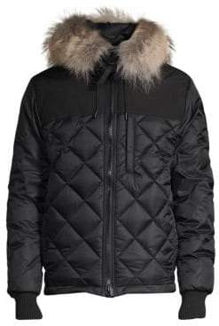 Canada Goose Pritchard Diamond-Quilted Coyote Fur-Trim Coat