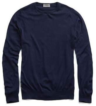 John Smedley Sweaters Hatfield Cotton Crewneck Sweater in Navy