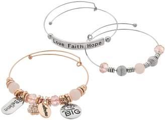 """Love Faith Hope"" Charm Bangle Bracelet Set"