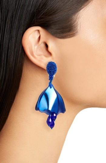 Women's Oscar De La Renta Small Impatiens Flower Drop Clip Earrings 2