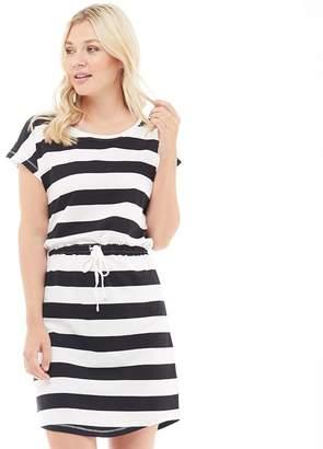 Only Womens May Short Sleeve T-Shirt Dress Cloud Dancer/Block Black