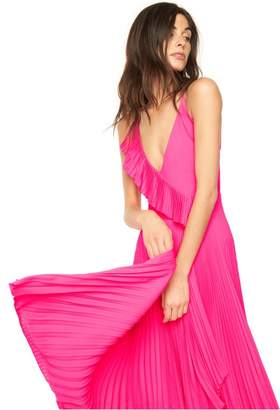 Milly Exclusive Stretch Silk Pleated Wrap Dress