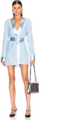 Fleur Du Mal Cufflink Mini Wrap Dress in Icy Blue | FWRD