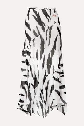Philosophy di Lorenzo Serafini Asymmetric Zebra-print Crepe De Chine Midi Skirt - White
