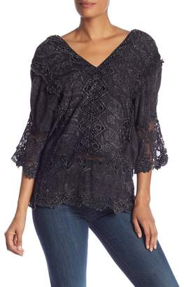 XCVI Lace 3\u002F4 Sleeve Top