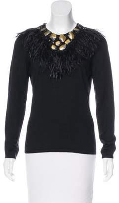 Oscar de la Renta Feather-Trimmed Cashmere Sweater
