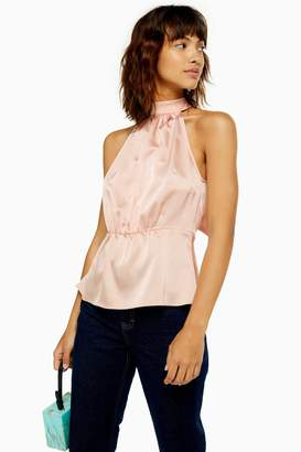 Topshop Womens Satin Bow Back Halter Neck Top - Nude