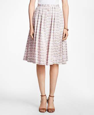 Floral Cotton-Sateen Pleated Skirt $178 thestylecure.com