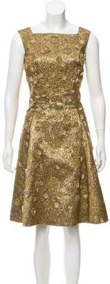 Oscar de la Renta Brocadè Appliqué Dress