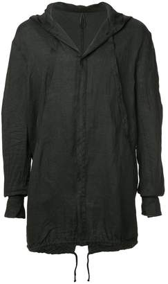 Masnada creased long hooded jacket
