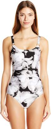 Calvin Klein Women's Over The Shoulder Shirred One Piece Swimsuit with Sewn in Soft Cup