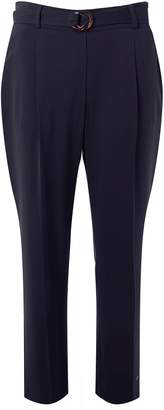 Dorothy Perkins Womens Navy Belted Tapered Trousers