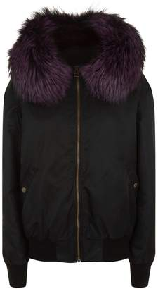 Mr & Mrs Italy Fox Fur Trim Hooded Bomber Jacket