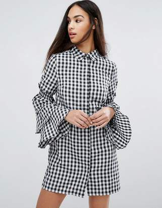 Missguided Gingham Tiered Sleeve Shirt Dress $49 thestylecure.com