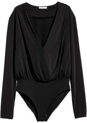 H&M Draped Bodysuit - Black