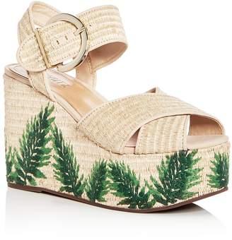 Schutz Women's Feray Raffia Platform Wedge Sandals