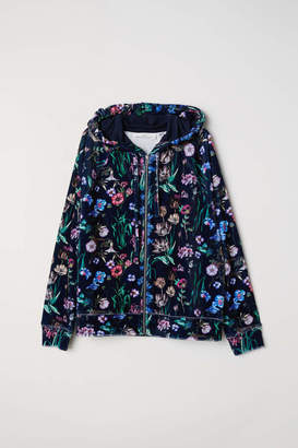 H&M Patterned Velour Hooded Jacket - Dark blue/floral - Women