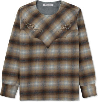 Eototo Brown Western Pullover Check Shirt