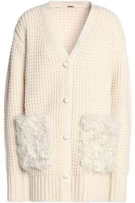 ADAM by Adam Lippes Shearling-Appliqued Wool And Cashmere Blend Waffle-Knit Cardigan