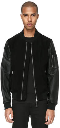 Mackage HANS BOMBER CUT JACKET WITH LEATHER SLEEVES