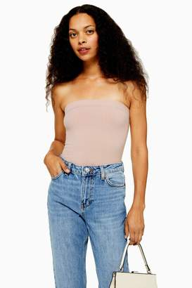 Topshop Womens Petite Stone Ribbed Bandeau Bodysuit - Stone