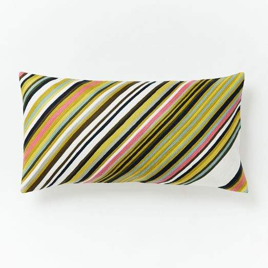 Crewel Diagonal Stripe Pillow Cover - Pink Flamingo