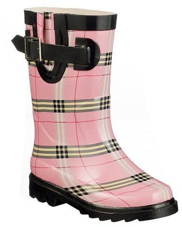 Kids' Pinky Plaid Rain Boots - Pink