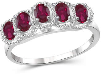 FINE JEWELRY Womens Lead-glass Filled Ruby Sterling Silver Side Stone Ring