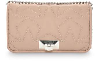 Jimmy Choo HELIA CLUTCH Ballet Pink Leather Clutch with Chain Strap