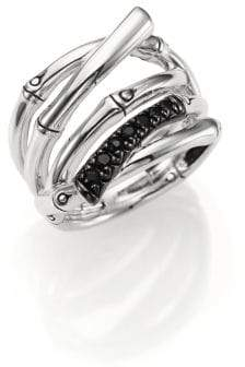 John Hardy Bamboo Black Sapphire& Sterling Silver Multi-Row Ring