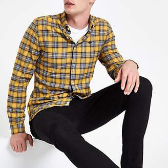River Island Mens Yellow check wasp embroidered shirt