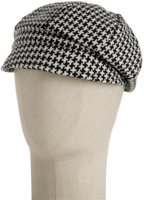 Helen Welsh black houndstooth wool-blend cap