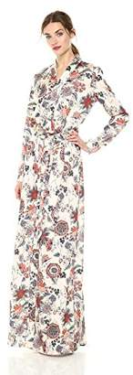 BEIGE Daisy Drive Women's Long Flowy Floral Print Long Sleeve Dress
