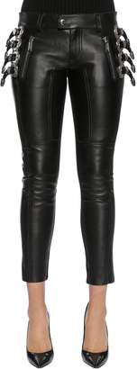 DSQUARED2 Western Buckles Leather Pants
