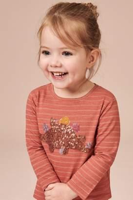 Next Girls Rust Sequin Dinosaur Long Sleeve T-Shirt (3mths-7yrs) - Brown