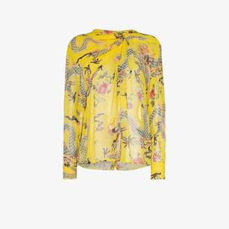 Isabel Marant debby gathered silk blouse