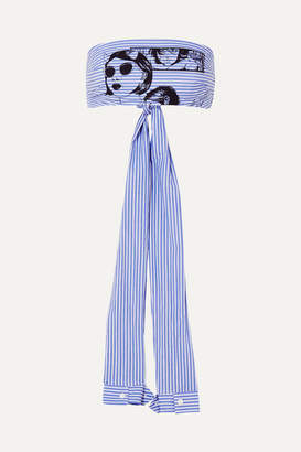 Prada Printed Striped Cotton-poplin Bandeau Top - Blue
