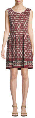 Max Studio Printed Pleated Sleeveless Dress