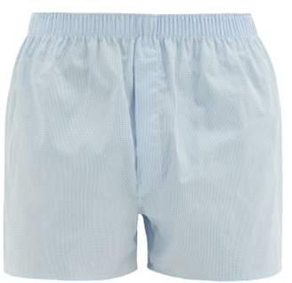 Sunspel Graph Check Cotton Poplin Boxer Shorts - Mens - Light Blue