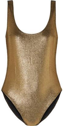 Milady Marie France Van Damme Nageur Metallic Jacquard Swimsuit - Gold