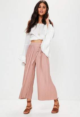 Missguided Pink Pleated Culottes With Skinny Tie Belt, Pink