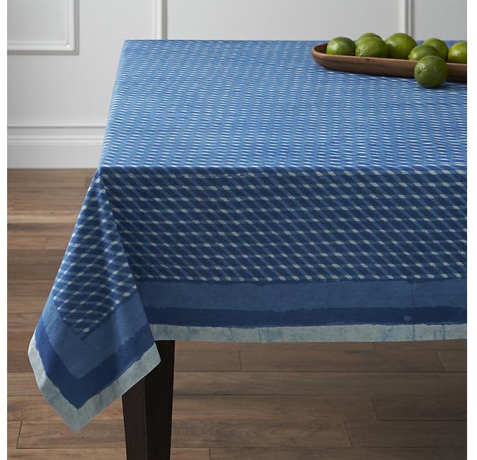 """Crate & Barrel Indigo Block Print 60""""x90"""" Tablecloth"""